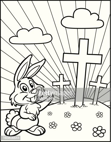Coloring Book Easter Bunny With Crosses Vector Art