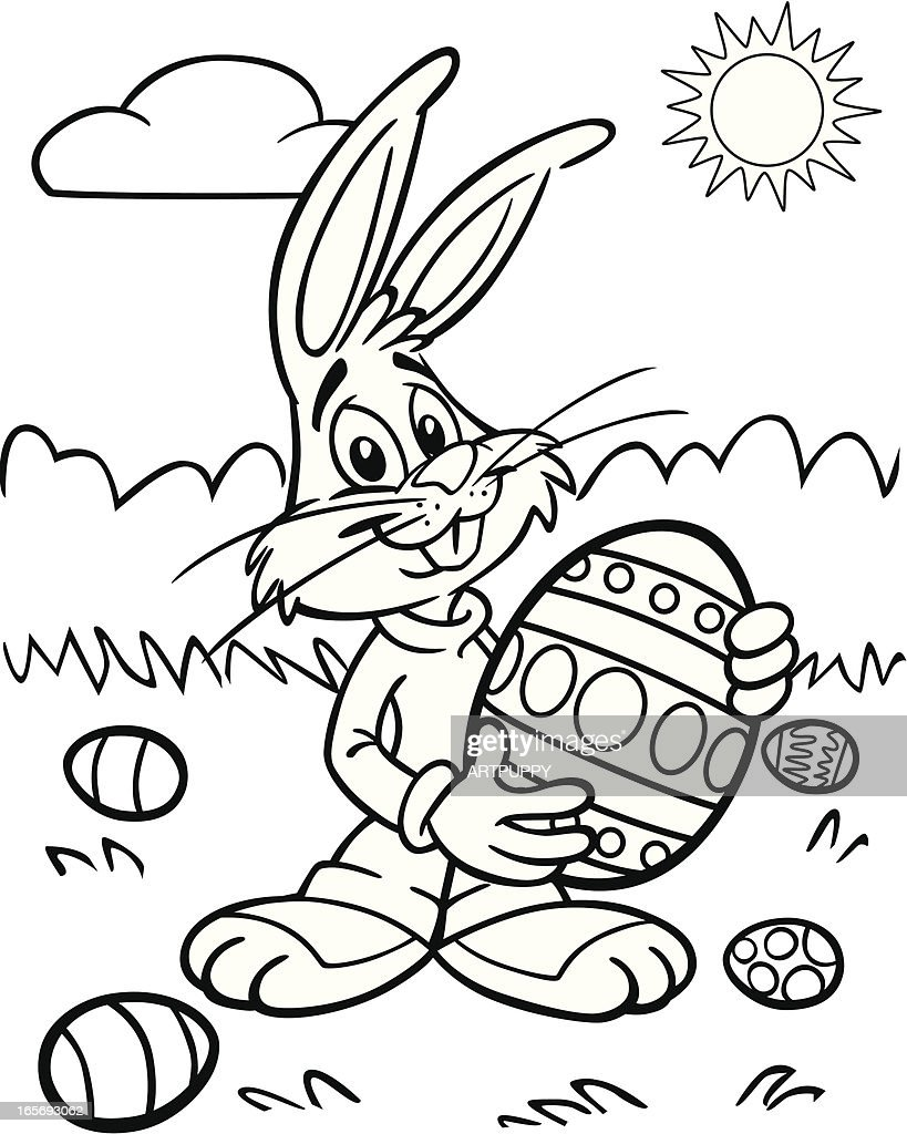 Coloring Book Easter Bunny With Egg Vector Art