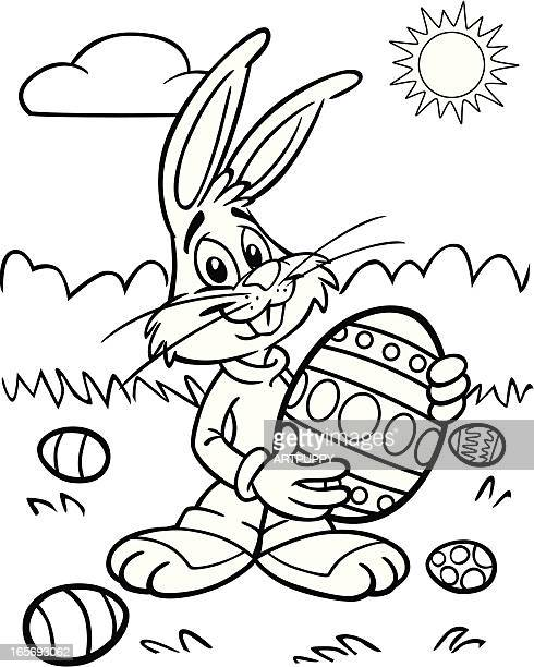 Coloring book Easter Bunny With Egg