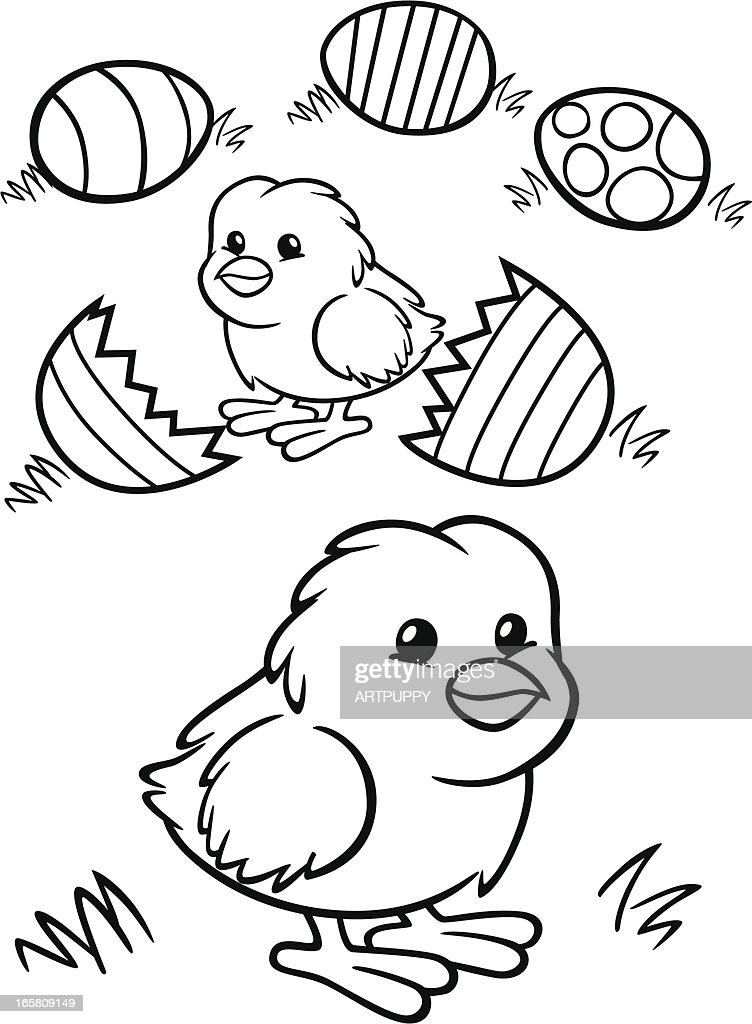 Coloring Book Easter Chicks Vector Art