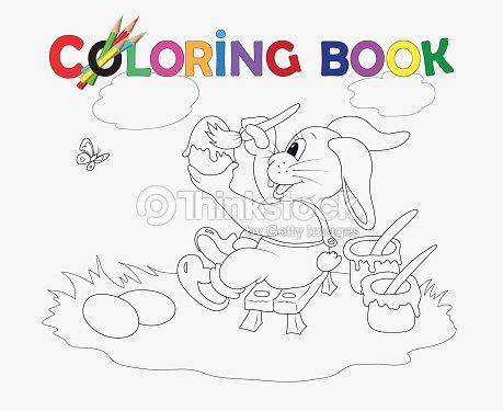Libro Para Colorear Huevos De Pascua Conejo De Color Arte vectorial ...