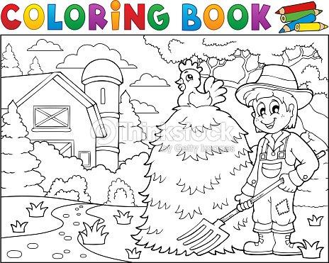 Coloriage Batiment Ferme.Livre De Coloriage Agriculteur Pres De Ferme 1 Clipart Vectoriel