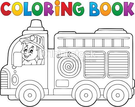 Libro Para Colorear Camión De Bomberos Tema 2 Arte vectorial ...