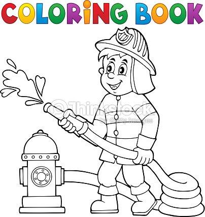 Libro Para Colorear Bombero Tema 1 Arte vectorial | Thinkstock