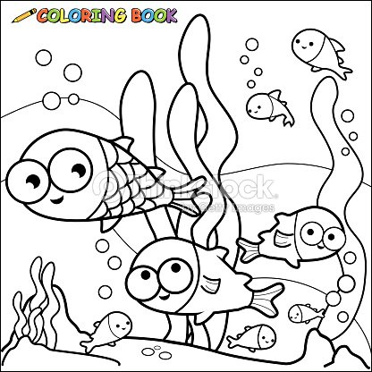 Coloring Book Fish Underwater Vector Art