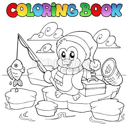 Libro da colorare pesca pinguino arte vettoriale thinkstock - Animali in inverno clipart ...