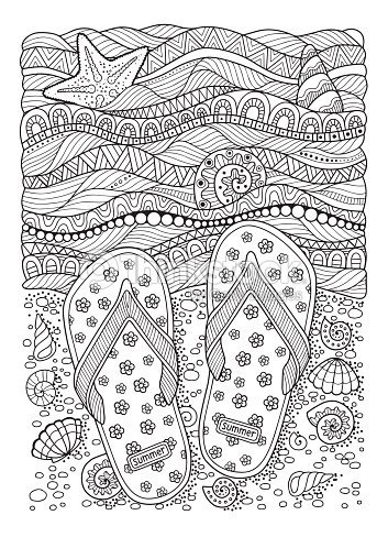 Coloring Book For Adult Sea Beach Slippers Sand And Shell Vector