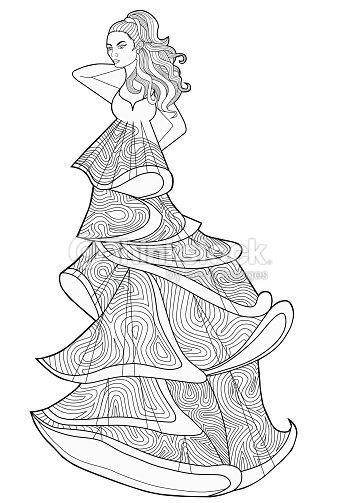Libro De Colorear Para Adultos Mujer En Vestido Largo La Moda Arte ...
