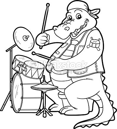 Coloring Book For Children Crocodile And Drum Vector Art