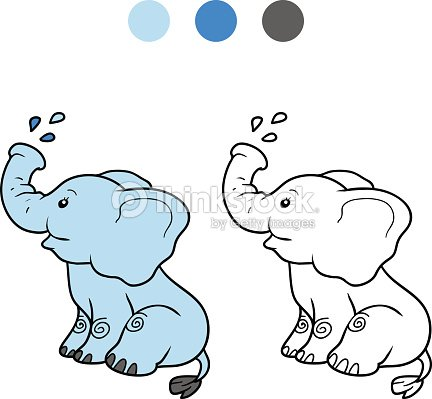 Coloring Book For Children Elephant Vector Art