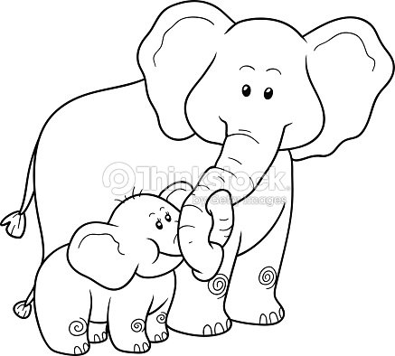 Coloring Book For Children Elephants Vector Art | Thinkstock
