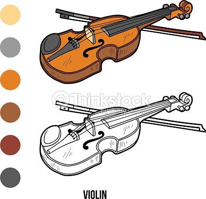 Libro Para Colorear Con Los Niños Instrumentos Musicales Violín Arte ...