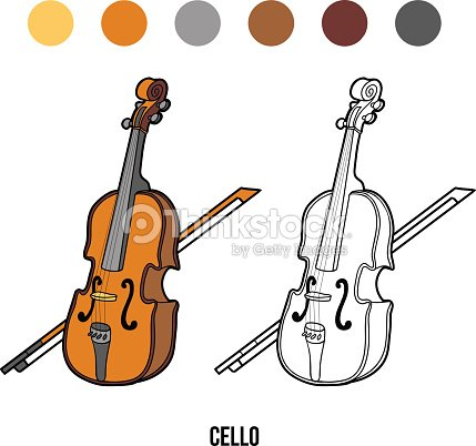 Libro da colorare per bambini strumenti musicali - Immagini violino a colori ...