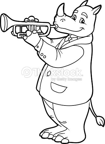 coloring book for children rhino and trumpet vector art