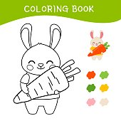 Coloring book for children. Vector illustration of a cute little rabbit with carrot.
