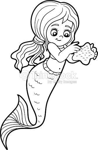 Libro da colorare per bambini bambina sirena arte - Sirena libro da colorare ...