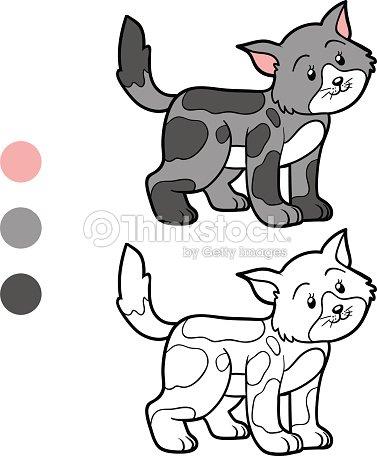 Coloriage Chat Tachete.Livre De Coloriage Pour Les Enfants Chat Tachete Clipart Vectoriel
