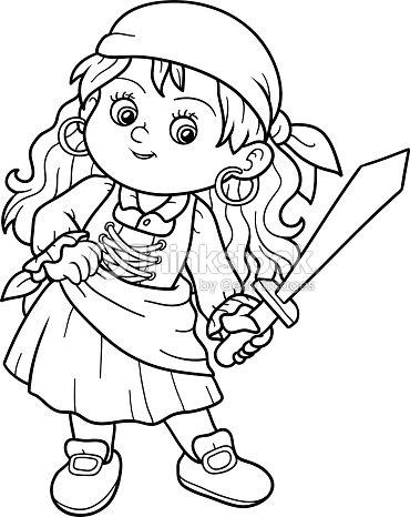 Livre de coloriage pour les enfants de fille pirate clipart vectoriel thinkstock - Coloriage pirate fille ...