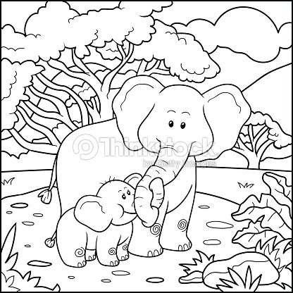 Coloring Book For Children Two Elephants