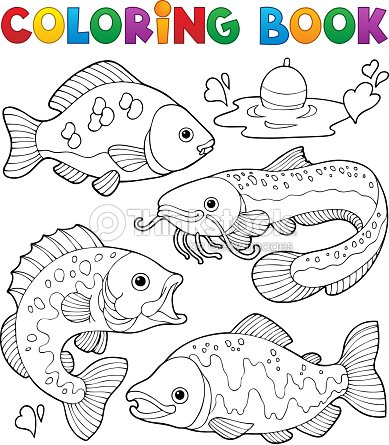 Coloring Book Freshwater Fishes 1 Vector Art