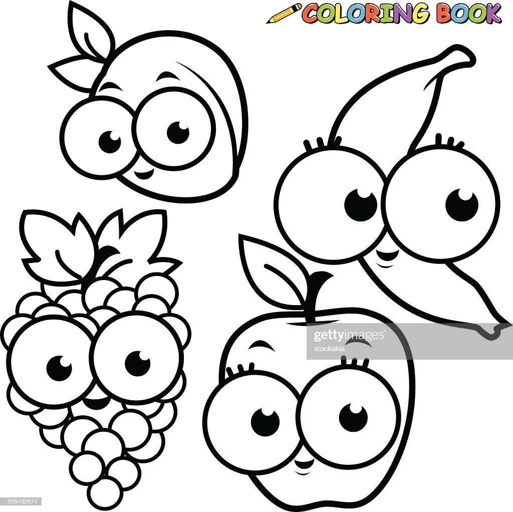 Coloring Book Fruit Cartoon Set Apricot Banana Grape Apple Vector Art