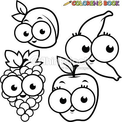 Libro Para Colorear Frutas Conjunto De Dibujos Animados De Apple De ...
