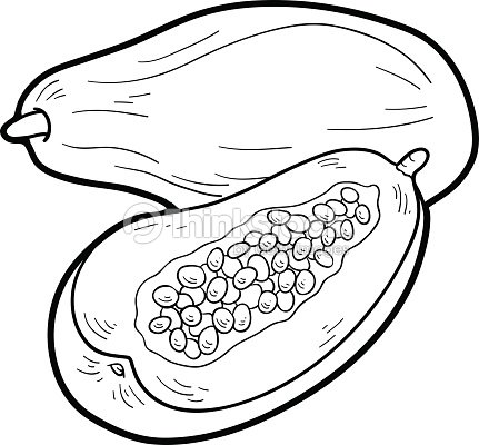 Coloriage Fruits Tropicaux.Livre De Coloriage Fruits Et Legumes Papaye Clipart Vectoriel