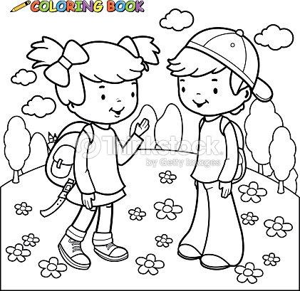 Libro Para Colorear Niña Y Niño Estudiantes Arte vectorial | Thinkstock