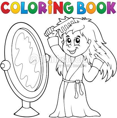 Libro Para Colorear Cabello De Chica Peinar Tema 1 Arte vectorial ...
