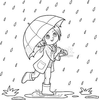 Libro De Colorear Niña Corriendo Con Un Paraguas De Lluvia Arte ...