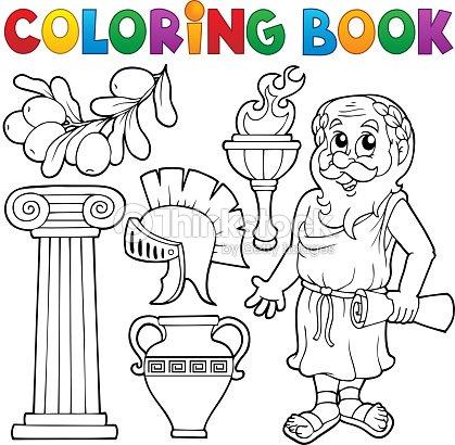 Libro Para Colorear Griego Tema 1 Arte vectorial | Thinkstock
