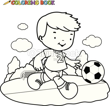 Coloring Book Kid Playing Football Vector Art