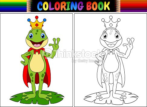 Libro Para Colorear Del Rey Dibujos Animados Rana Arte vectorial ...