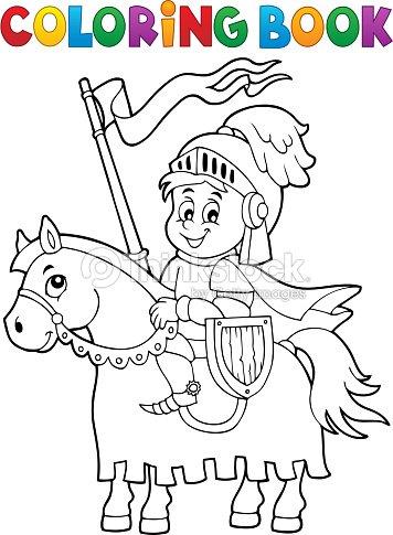 Libro da colorare cavaliere a cavallo tema 1 arte - Cavaliere libro da colorare ...