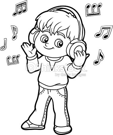 listening coloring pages coloring book little boy listening to music on headphones