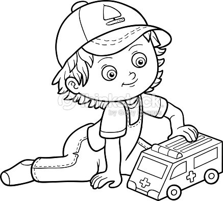 Coloring Book Little Boy Plays With Ambulance Car Vector