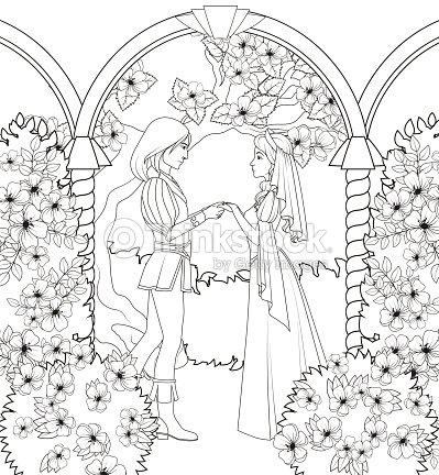 Libro Para Colorear Medieval Pareja Sosteniendo Las Manos Arte ...