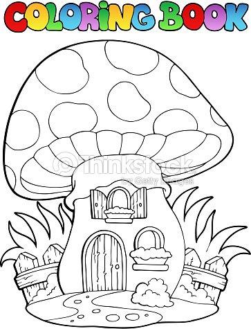 Coloring Book Mushroom House Vector Art