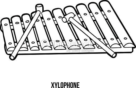 Libro Para Colorear Instrumentos Musicales Xilófono Arte vectorial ...