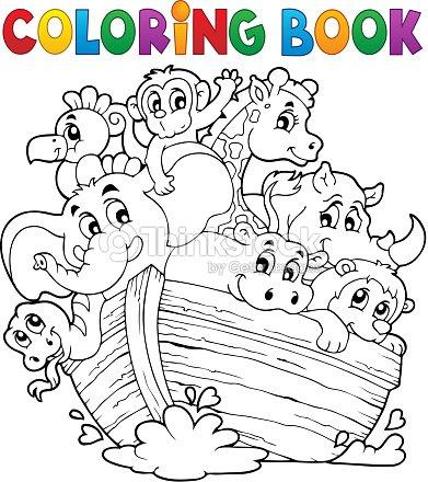 Coloring Book Noahs Ark Theme 1 Vector Art | Thinkstock