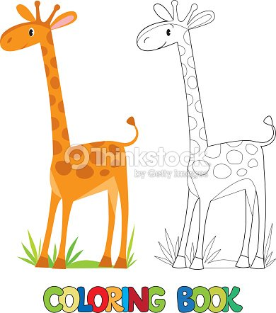 Coloring Book Of Funny African Giraffe Vector Art