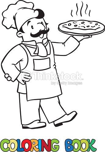 Para Colorear Libro De La Risa Y Pizza O Chef Cocinar Arte vectorial ...