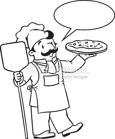 Libro da colorare di divertente o chef cucinare con pizza for Cucinare da chef