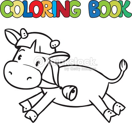 Coloring Book Of Little Funny Cow Or Calf Vector Art   Thinkstock