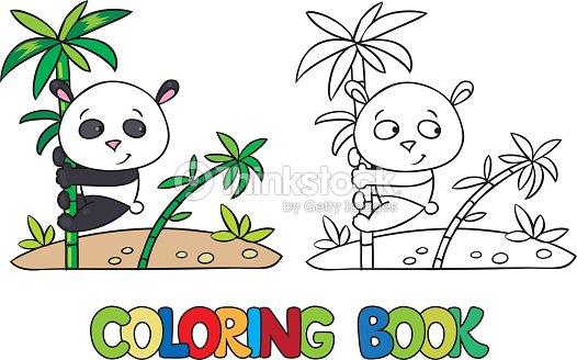 Libro Para Colorear De Poco Panda En Bambú Arte vectorial | Thinkstock