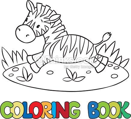 livro de colorir com pequena zebra arte vetorial thinkstock