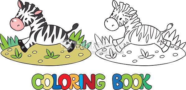 Libro Para Colorear De Poco Cebra Arte vectorial | Thinkstock