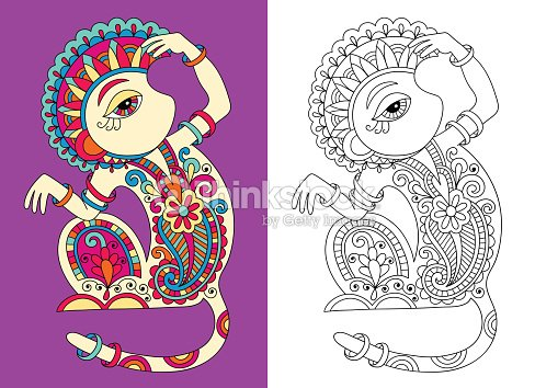 Coloring Book Page For Adults With Unusual Fantastic Monkey Vector ...