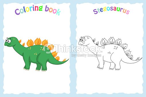 Libro De Colorear Para Niños Preescolar Con Colores Stegosau Arte ...
