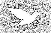 Adult coloring book page with silhouette of hummingbird on beautiful background